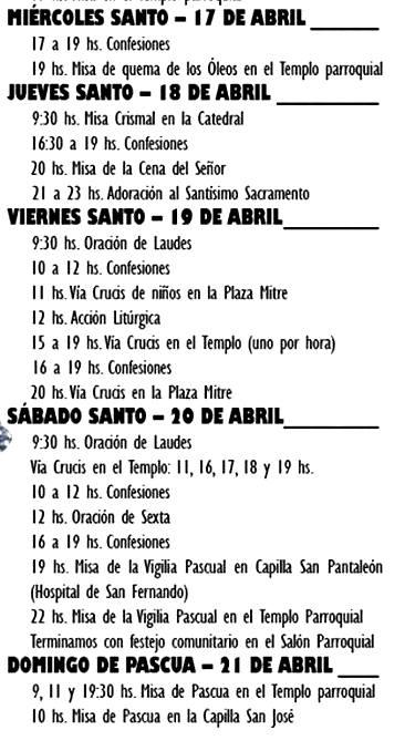 Cronograma de actividades para la celebración de la Semana Santa.