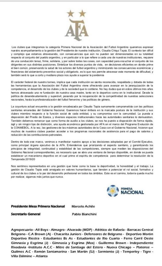 Comunicado Clubes Primera Nacional Ascensos Afa