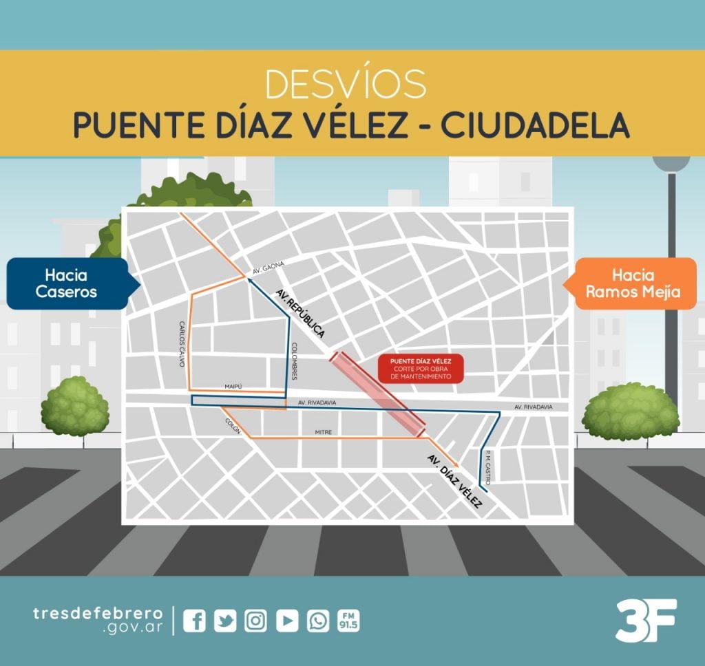 Corte Puente Diaz Velez Ciudadela. Mapa