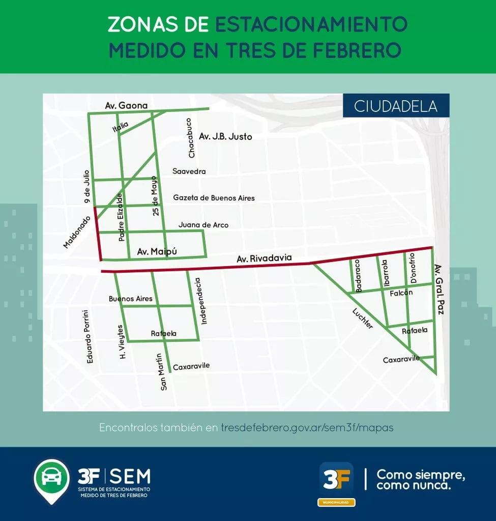 Estacionamiento Medido Mapa Ciudadela