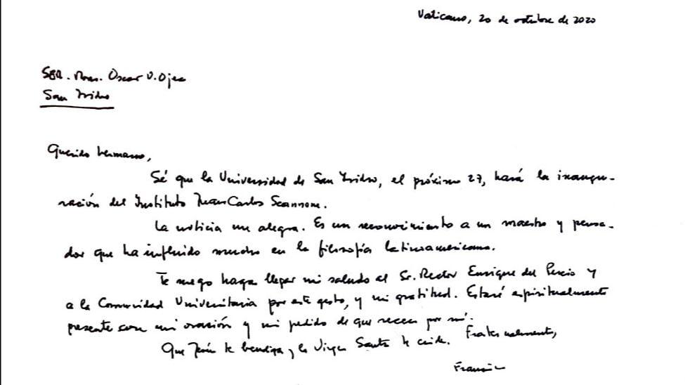 Vaticano Monseñor Ojea Carta Felicitacion