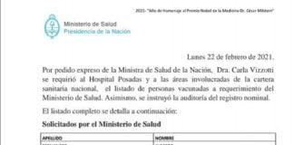listado ministerio salud vacunados vip