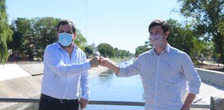 el intendente de san martín y el secretario general de gobierno de la provincia supervisaron la puesta en valor del canal josé ingenieros.