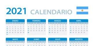 vector template of color 2021 calendar argentinian version