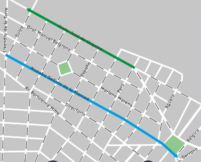 mapa cambio calles caseros