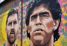 maradona messi mural